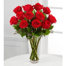 Long Stem Red Rose Bouquet - Vase included, MX#E2-4305.Long Stem Red Rose Bouquet - Vase included