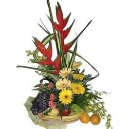Cesta de Frutas y Flores, MY#3007 Cesta de Frutas y Flores