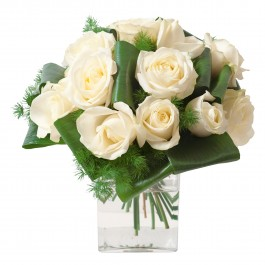 Round funeral bouquet of white roses (without vase), Round funeral bouquet of white roses (without vase)