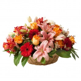 Funeral basket of mixed flowers in red and orange colours, Funeral basket of mixed flowers in red and orange colours