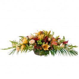 Basket for funeral in white and orange colours, Basket for funeral in white and orange colours