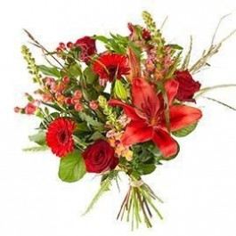 Bouquet Mixed red flowers; excl. vase, Bouquet Mixed red flowers; excl. vase