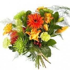 Bouquet Mixed orange flowers; excl. vase, Bouquet Mixed orange flowers; excl. vase