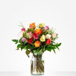 Bouquet: Colourful roses; excl. vase, Bouquet: Colourful roses; excl. vase