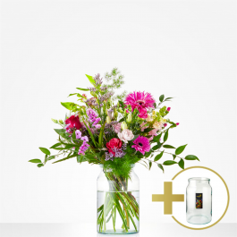 Combi Bouquet: Just for you; including vintage vase € 10,-, Combi Bouquet: Just for you; including vintage vase € 10,-