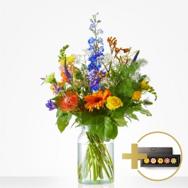 Combi Bouquet: A sweet thank you; incl. chocolate for € 7,-, Combi Bouquet: A sweet thank you; incl. chocolate for € 7,-