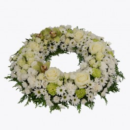 Funeral Wreath with texted ribbon, Funeral Wreath with texted ribbon