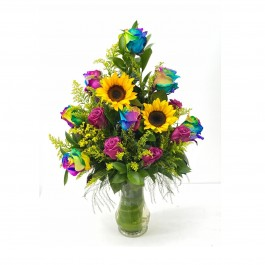 Rainbow arrangement with vase, Rainbow arrangement with vase