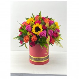 24 Polychromatic roses & sunflowers, 24 Polychromatic roses & sunflowers