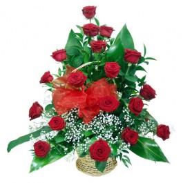 18 róż w koszu, PL#1218k 18 róż w koszu