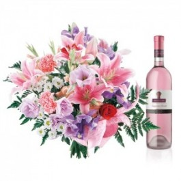 Name-day flowers with pink wine, Name-day flowers with pink wine
