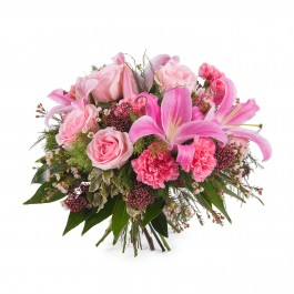 Mixed bouquet with roses and lilies, Mixed bouquet with roses and lilies