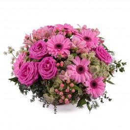Basket of Pink Gerbera Daisies, Basket of Pink Gerbera Daisies