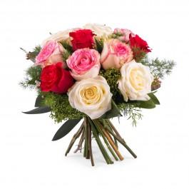12 Short-stemmed Multicoloured Roses, 12 Short-stemmed Multicoloured Roses