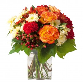 Sympathy bouquet in red, yellow and orange colours (without, Sympathy bouquet in red, yellow and orange colours (without