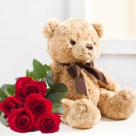 SEVEN RED ROZES AND TEDDY BEAR, SEVEN RED ROZES AND TEDDY BEAR