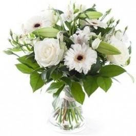 White mixed bouquet, excl. vase, White mixed bouquet, excl. vase