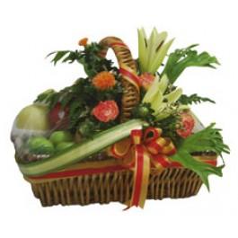 Flores e frutas cesta, TH#4105 Flores e frutas cesta
