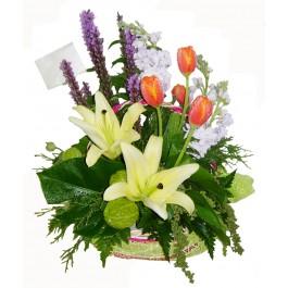 กระเช้าดอกไม้ผสม, TH#7531 กระเช้าดอกไม้ผสม