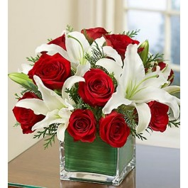 Arrangement of Red Roses and White Liliums, TR#4222