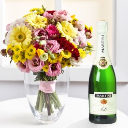 Mixed colorful bouquet and sparkling wine, UA#579A Mixed colorful bouquet and sparkling wine