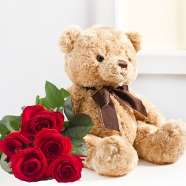 Seven red roses and Teddy Bear, UA#582 Seven red roses and Teddy Bear