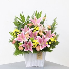 Pink lilies and mixed flowers, Pink lilies and mixed flowers