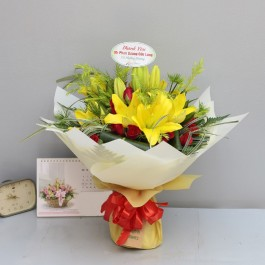 Yellow lilies with red and green, Yellow lilies with red and green