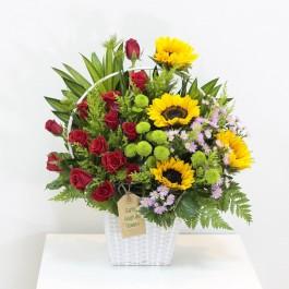Sunny Flowers in white basket, Sunny Flowers in white basket