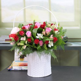 Handle basket with red pink and white, Handle basket with red pink and white