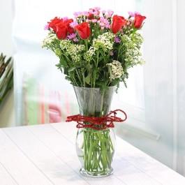 Vase of roses & seasonal flowers, Vase of roses & seasonal flowers