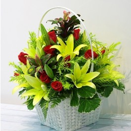 Red & Green Flowers in Basket, Red & Green Flowers in Basket