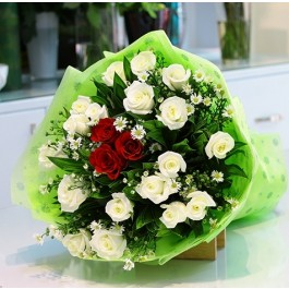 White and Red Roses Bouquet, White and Red Roses Bouquet