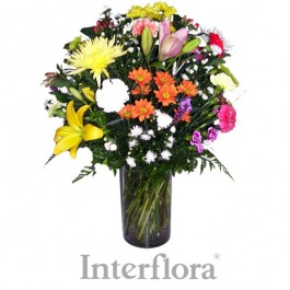 Ramo de flores cortadas (en cada florero de cristal), ZA#G09 Ramo de flores cortadas (en cada florero de cristal)