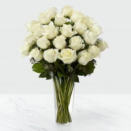 24 White Roses in Vase, 24 White Roses in Vase