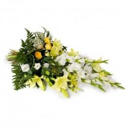 Funeral/Sympathy Bouquet with ribbon, AT#FLBR Funeral/Sympathy Bouquet with ribbon