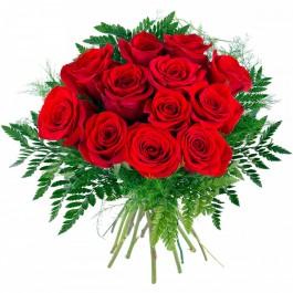 12 rosas de tallo corto, NL#12RS 12 rosas de tallo corto