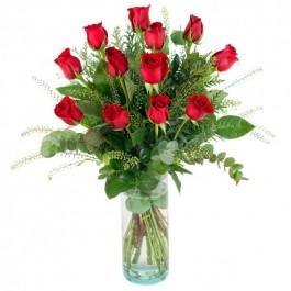 12 rosas de tallo large, CA#12RL 12 rosas de tallo large
