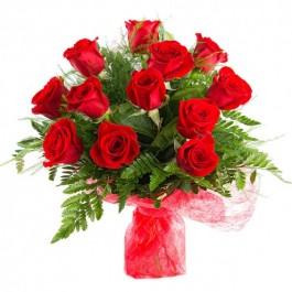 12 rosas de tallo medio, AU#12RM 12 rosas de tallo medio