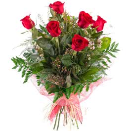 Ramo Sexta, Ramo de 6 Rosas Rojas de Tallo Largo