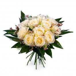 Pureza, 12 Rosas Blancas  de Tallo Corto