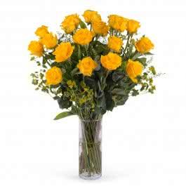 Impulso, 18 Rosas Amarillas de Tallo Largo