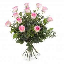Caricia, 12 Rosas Rosas de Tallo Largo