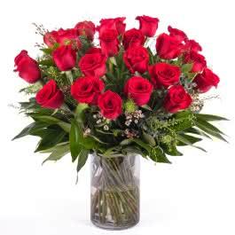 Devoción, 24 Rosas Rojas de Tallo Largo