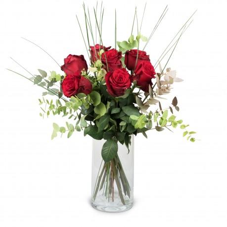 7 Red Roses with greenery, 7 Red Roses with greenery
