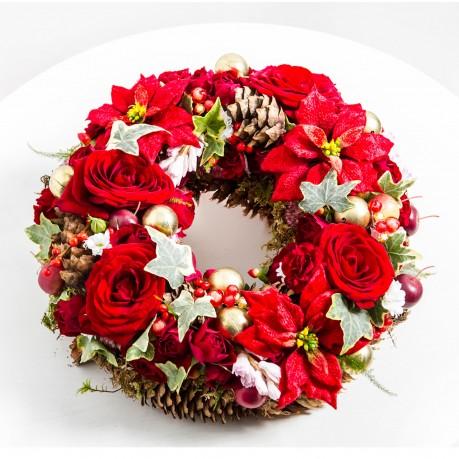 Adventi koszorú piros virágokkal, Adventi koszorú piros virágokkal