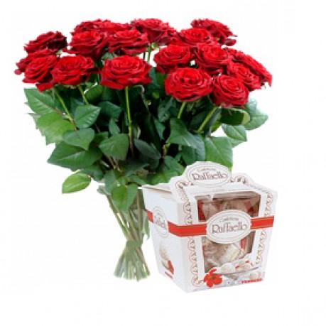 """Букет роз и конфеты """"Рафаэлло"""", RU#RU_07017 Букет роз и конфеты """"Рафаэлло"""""""