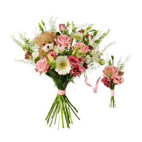 Babybirth bouquet with teddy bear, Babybirth bouquet with teddy bear