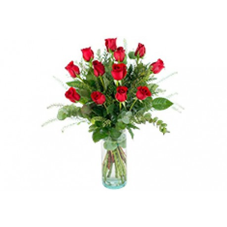 12 rosas de tallo large, SE#12RL 12 rosas de tallo large