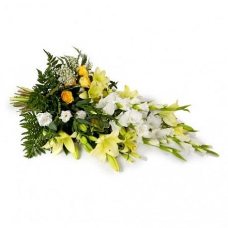 Ramo funerario con cinta, NL#FLBR Ramo funerario con cinta
